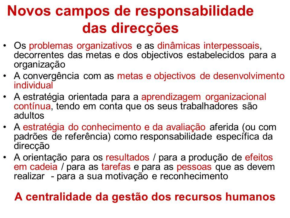Novos campos de responsabilidade das direcções Os problemas organizativos e as dinâmicas interpessoais, decorrentes das metas e dos objectivos estabel