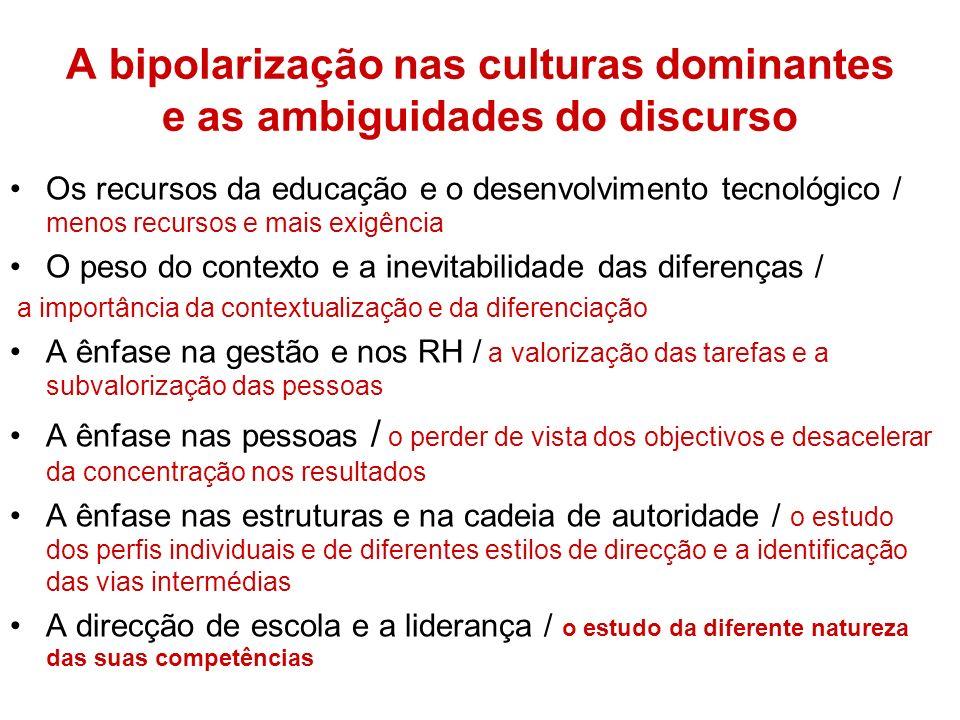 A bipolarização nas culturas dominantes e as ambiguidades do discurso Os recursos da educação e o desenvolvimento tecnológico / menos recursos e mais