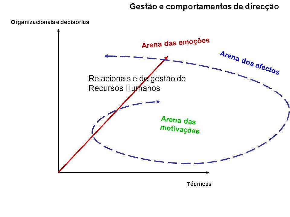 Organizacionais e decisórias Técnicas Relacionais e de gestão de Recursos Humanos Arena das emoções Arena dos afectos Arena das motivações Gestão e co