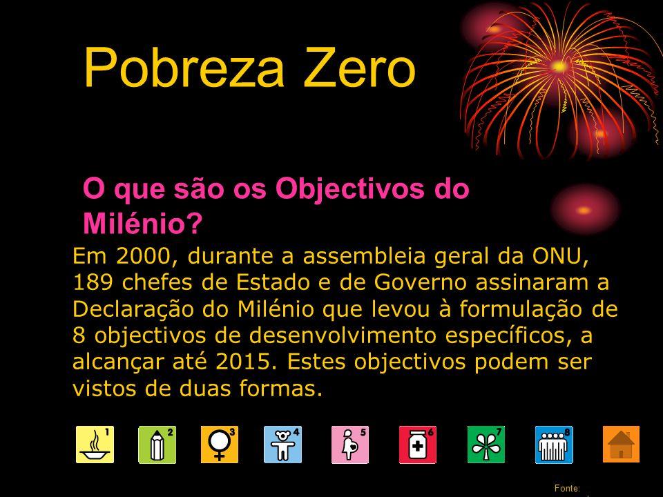 Quais são os Objectivos do Milénio? Pobreza Zero Fonte: www.pobrezazero.org