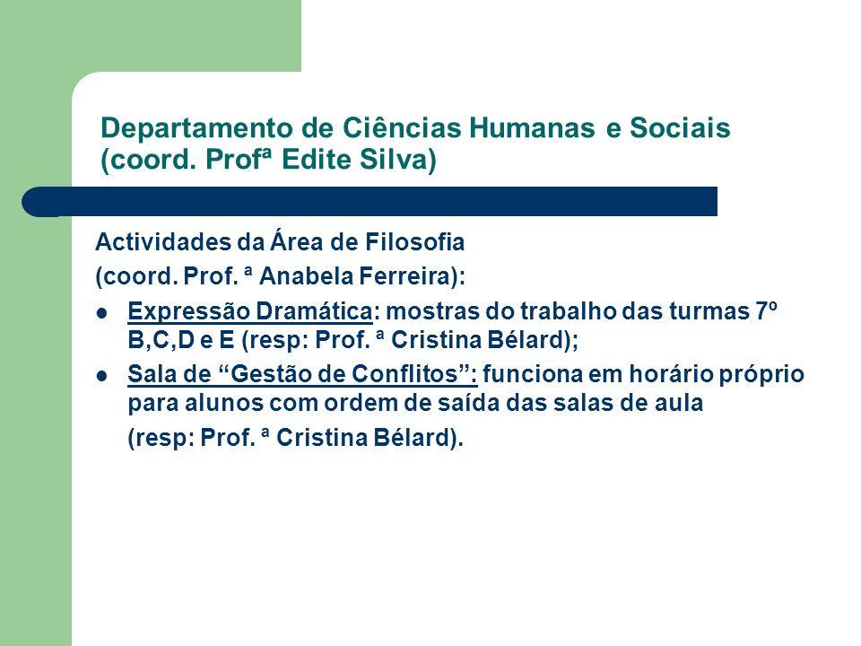Departamento de Ciências Humanas e Sociais (coord. Profª Edite Silva) Actividades da Área de Filosofia (coord. Prof. ª Anabela Ferreira): Expressão Dr