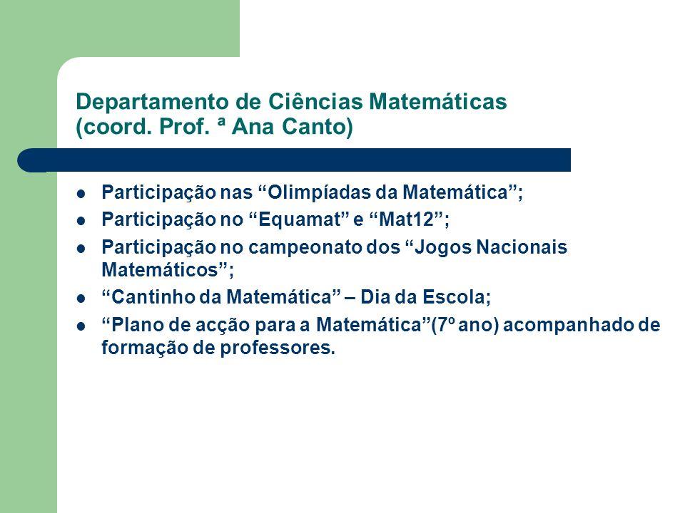 Participação nas Olimpíadas da Matemática; Participação no Equamat e Mat12; Participação no campeonato dos Jogos Nacionais Matemáticos; Cantinho da Ma