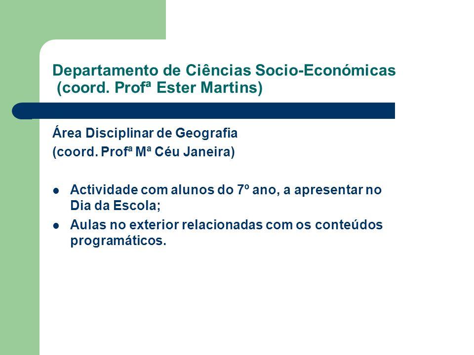 Departamento de Ciências Socio-Económicas (coord. Profª Ester Martins) Área Disciplinar de Geografia (coord. Profª Mª Céu Janeira) Actividade com alun