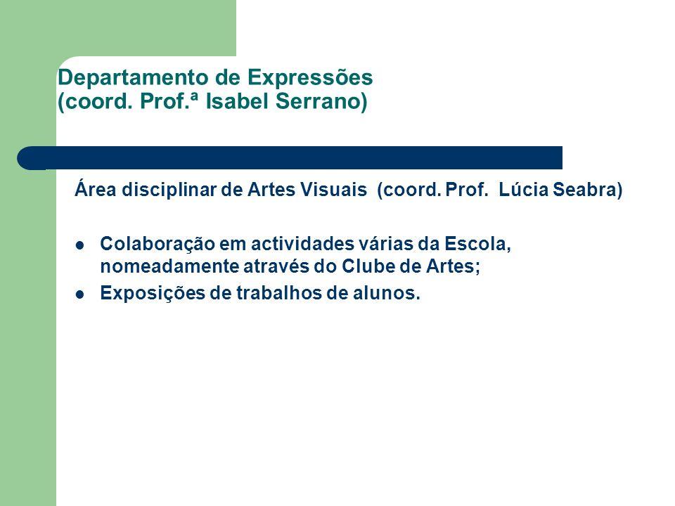 Departamento de Expressões (coord. Prof.ª Isabel Serrano) Área disciplinar de Artes Visuais (coord. Prof. Lúcia Seabra) Colaboração em actividades vár