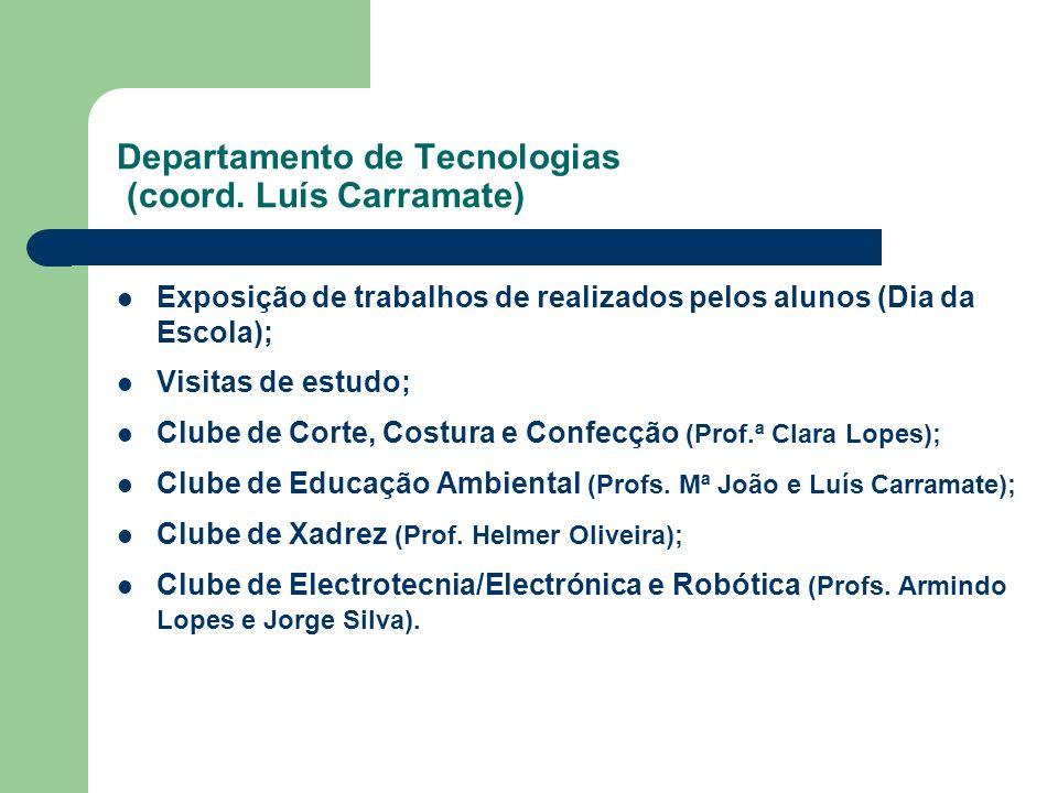 Departamento de Tecnologias (coord. Luís Carramate) Exposição de trabalhos de realizados pelos alunos (Dia da Escola); Visitas de estudo; Clube de Cor