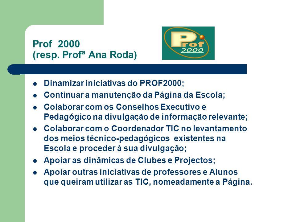 Prof 2000 (resp. Profª Ana Roda) Dinamizar iniciativas do PROF2000; Continuar a manutenção da Página da Escola; Colaborar com os Conselhos Executivo e
