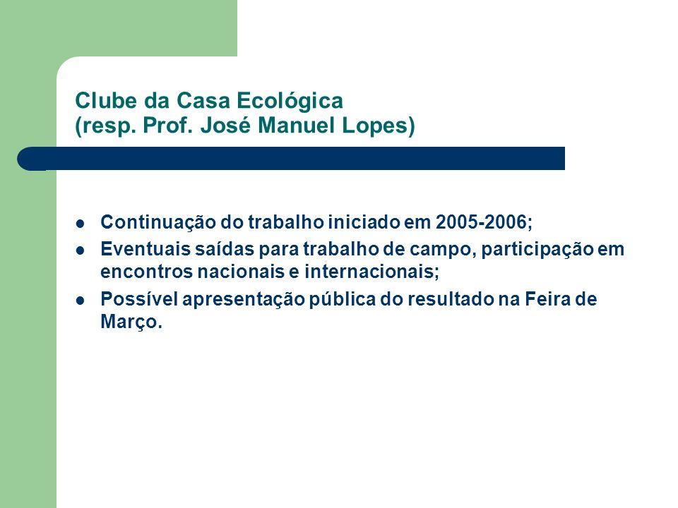 Clube da Casa Ecológica (resp. Prof. José Manuel Lopes) Continuação do trabalho iniciado em 2005-2006; Eventuais saídas para trabalho de campo, partic