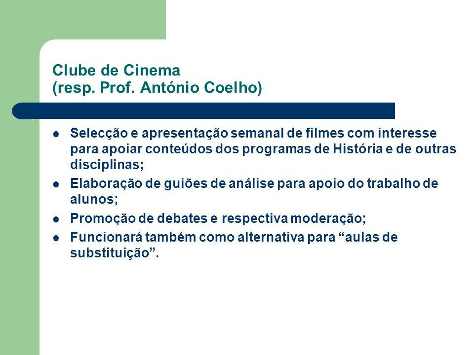 Clube de Cinema (resp. Prof. António Coelho) Selecção e apresentação semanal de filmes com interesse para apoiar conteúdos dos programas de História e