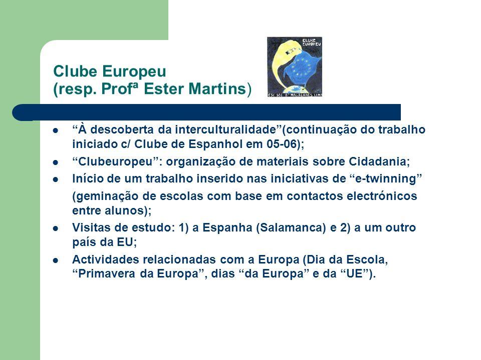 Clube Europeu (resp. Profª Ester Martins) À descoberta da interculturalidade(continuação do trabalho iniciado c/ Clube de Espanhol em 05-06); Clubeuro