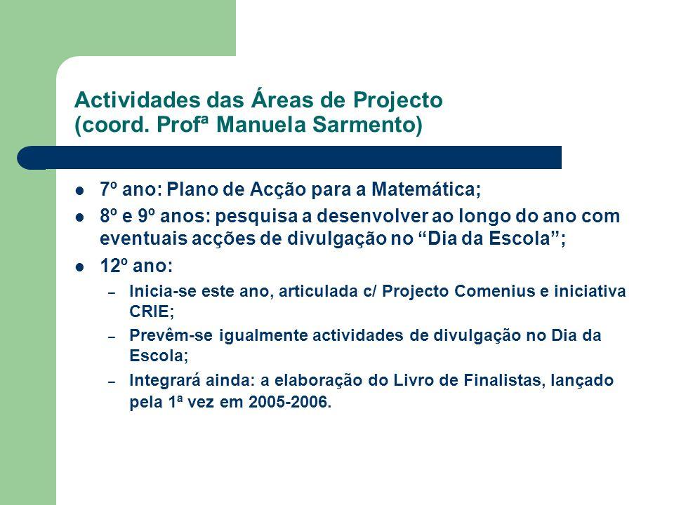 Actividades das Áreas de Projecto (coord. Profª Manuela Sarmento) 7º ano: Plano de Acção para a Matemática; 8º e 9º anos: pesquisa a desenvolver ao lo