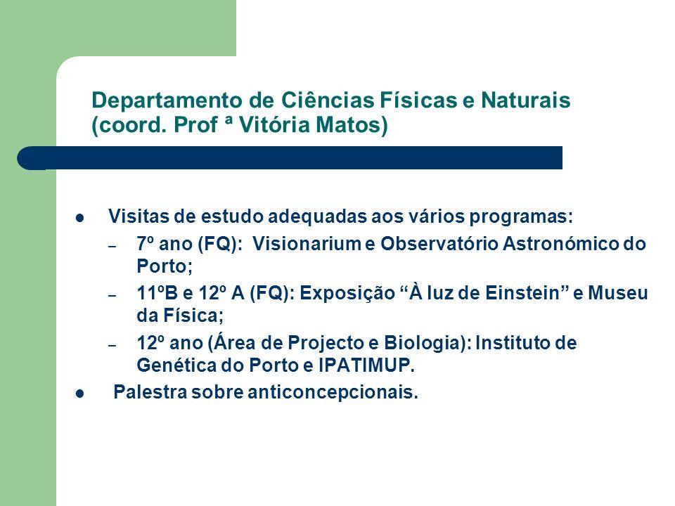 Departamento de Ciências Físicas e Naturais (coord. Prof ª Vitória Matos) Visitas de estudo adequadas aos vários programas: – 7º ano (FQ): Visionarium