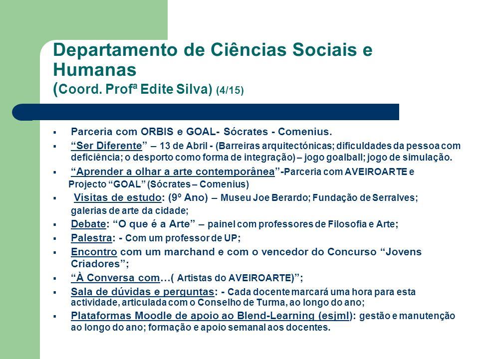 Departamento de Ciências Sociais e Humanas ( Coord. Profª Edite Silva) (4/15) Parceria com ORBIS e GOAL- Sócrates - Comenius. Ser Diferente – 13 de Ab