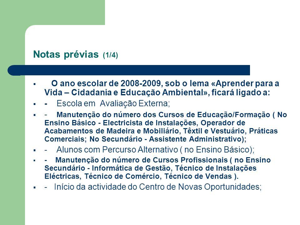 Notas prévias (1/4) O ano escolar de 2008-2009, sob o lema «Aprender para a Vida – Cidadania e Educação Ambiental», ficará ligado a: - Escola em Avali