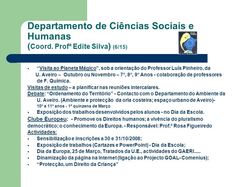 Departamento de Ciências Sociais e Humanas ( Coord. Profª Edite Silva ) (6/15) Visita ao Planeta Mágico, sob a orientação do Professor Luís Pinheiro,