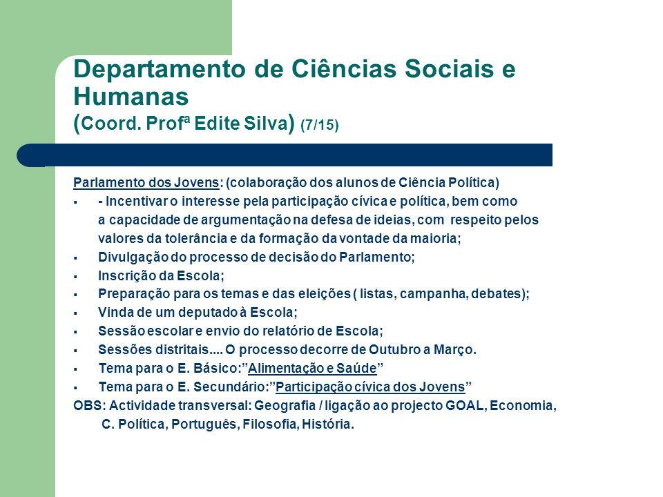 Departamento de Ciências Sociais e Humanas ( Coord. Profª Edite Silva ) (7/15) Parlamento dos Jovens: (colaboração dos alunos de Ciência Política) - I