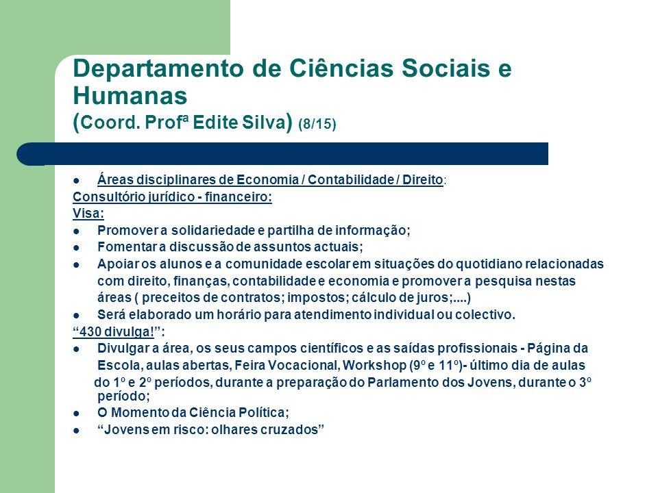 Departamento de Ciências Sociais e Humanas ( Coord. Profª Edite Silva ) (8/15) Áreas disciplinares de Economia / Contabilidade / Direito: Consultório