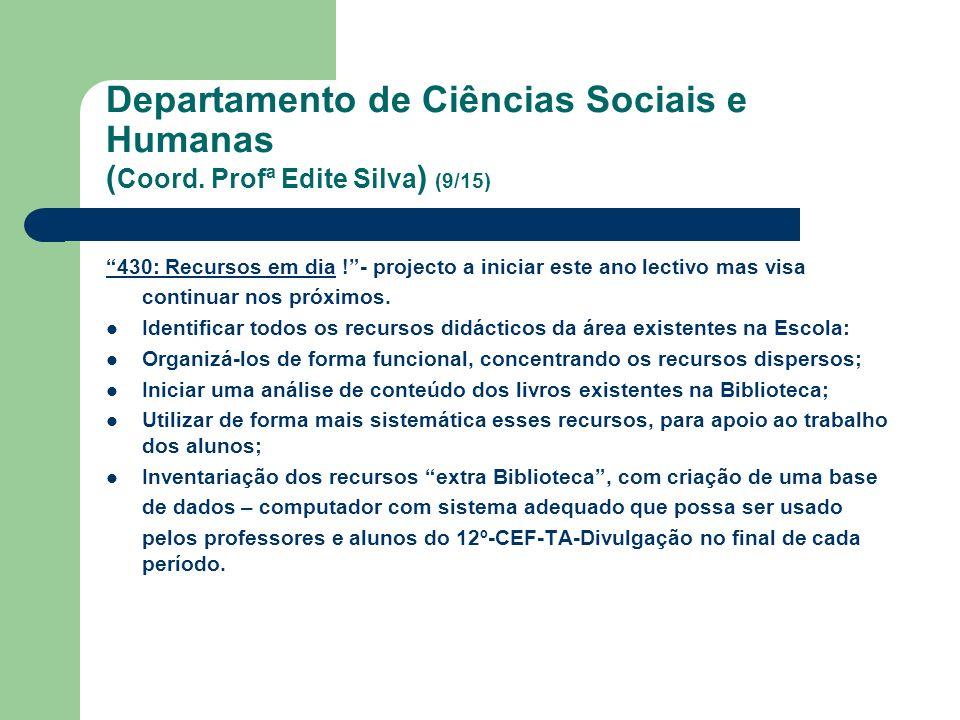Departamento de Ciências Sociais e Humanas ( Coord. Profª Edite Silva ) (9/15) 430: Recursos em dia !- projecto a iniciar este ano lectivo mas visa co