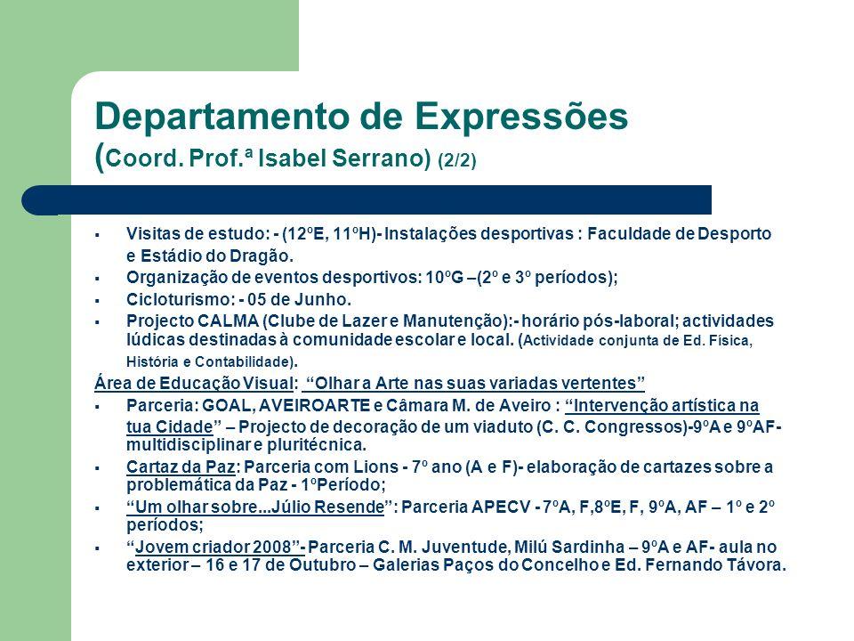 Departamento de Expressões ( Coord. Prof.ª Isabel Serrano) (2/2) Visitas de estudo: - (12ºE, 11ºH)- Instalações desportivas : Faculdade de Desporto e