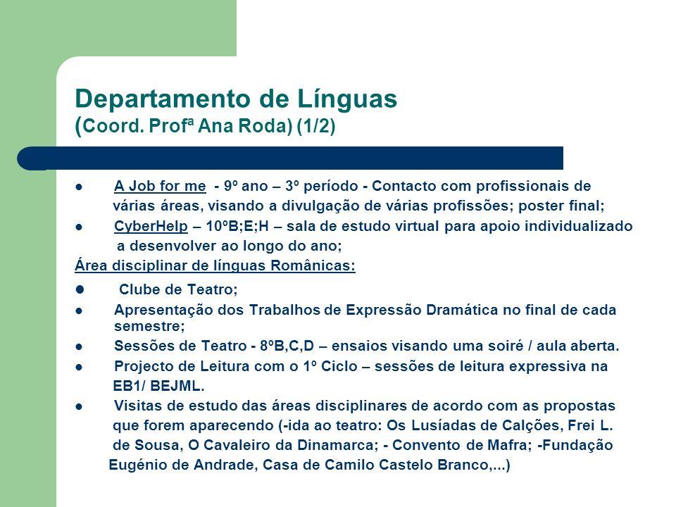 Departamento de Línguas ( Coord. Profª Ana Roda) (1/2) A Job for me - 9º ano – 3º período - Contacto com profissionais de várias áreas, visando a divu
