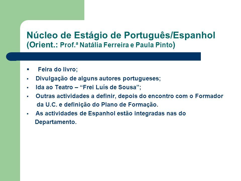 Núcleo de Estágio de Português/Espanhol (Orient.: Prof.ª Natália Ferreira e Paula Pinto ) Feira do livro; Divulgação de alguns autores portugueses; Id