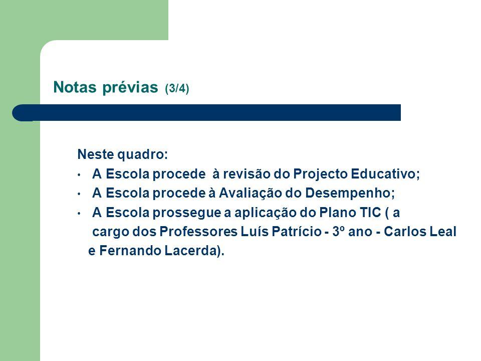 Notas prévias (3/4) Neste quadro: A Escola procede à revisão do Projecto Educativo; A Escola procede à Avaliação do Desempenho; A Escola prossegue a a