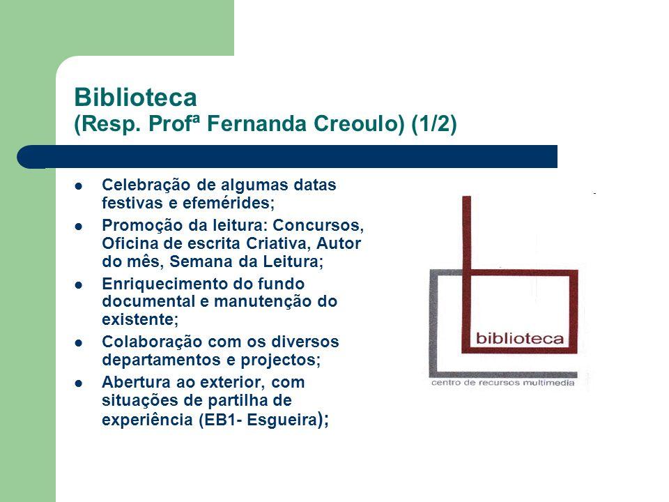 Biblioteca (Resp. Profª Fernanda Creoulo) (1/2) Celebração de algumas datas festivas e efemérides; Promoção da leitura: Concursos, Oficina de escrita