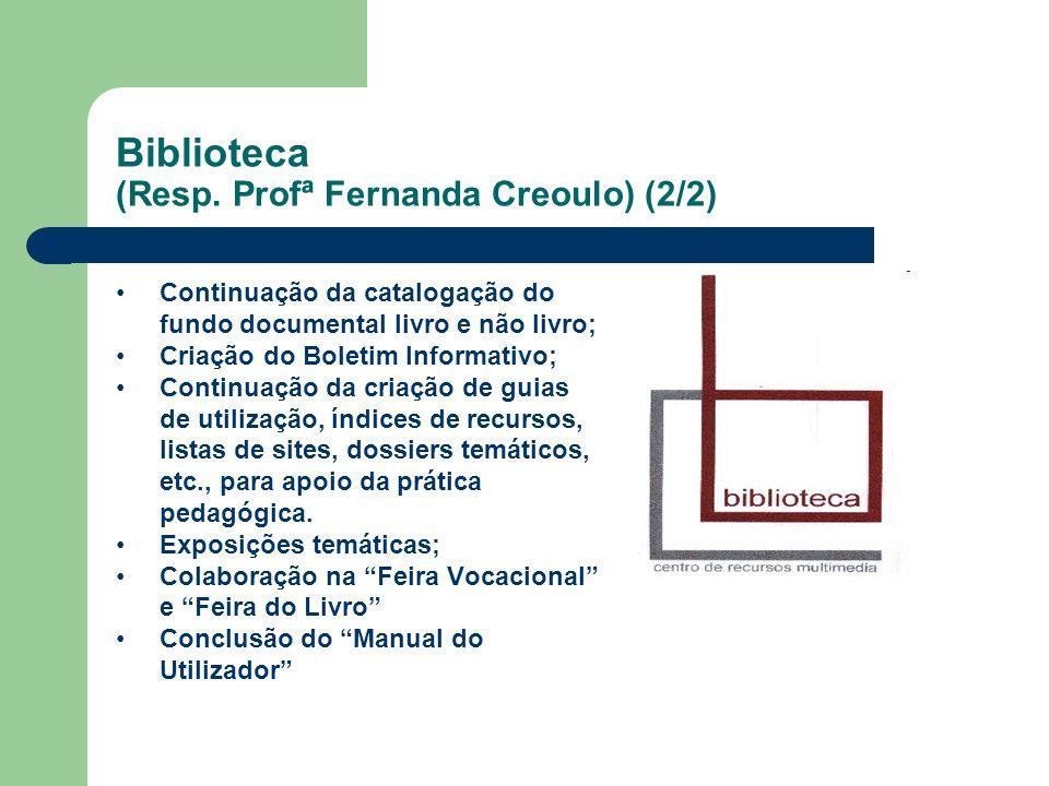 Biblioteca (Resp. Profª Fernanda Creoulo) (2/2) Continuação da catalogação do fundo documental livro e não livro; Criação do Boletim Informativo; Cont
