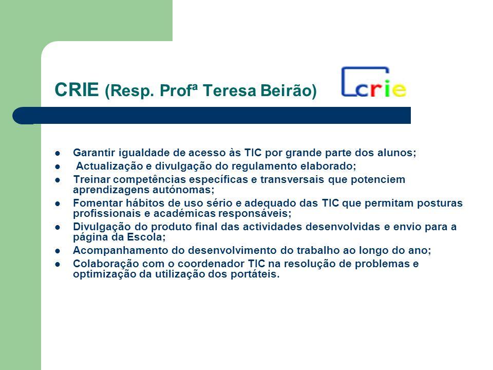 CRIE (Resp. Profª Teresa Beirão) Garantir igualdade de acesso às TIC por grande parte dos alunos; Actualização e divulgação do regulamento elaborado;