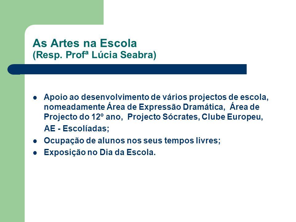 As Artes na Escola (Resp. Profª Lúcia Seabra) Apoio ao desenvolvimento de vários projectos de escola, nomeadamente Área de Expressão Dramática, Área d