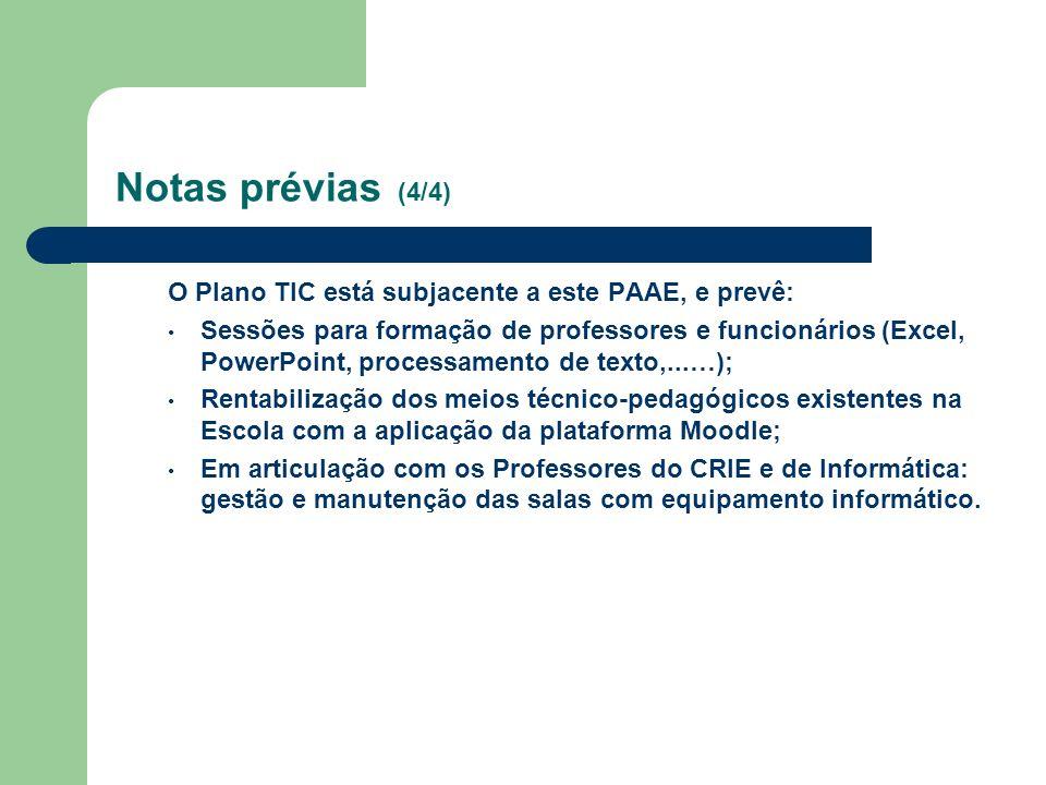 Notas prévias (4/4) O Plano TIC está subjacente a este PAAE, e prevê: Sessões para formação de professores e funcionários (Excel, PowerPoint, processa