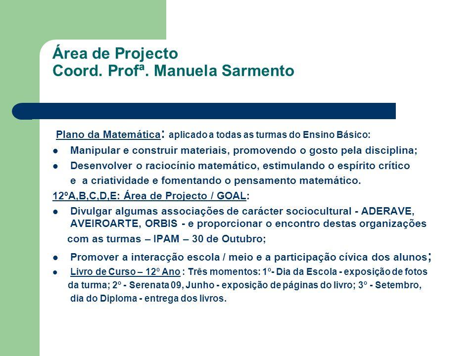 Área de Projecto Coord. Profª. Manuela Sarmento Plano da Matemática : aplicado a todas as turmas do Ensino Básico: Manipular e construir materiais, pr