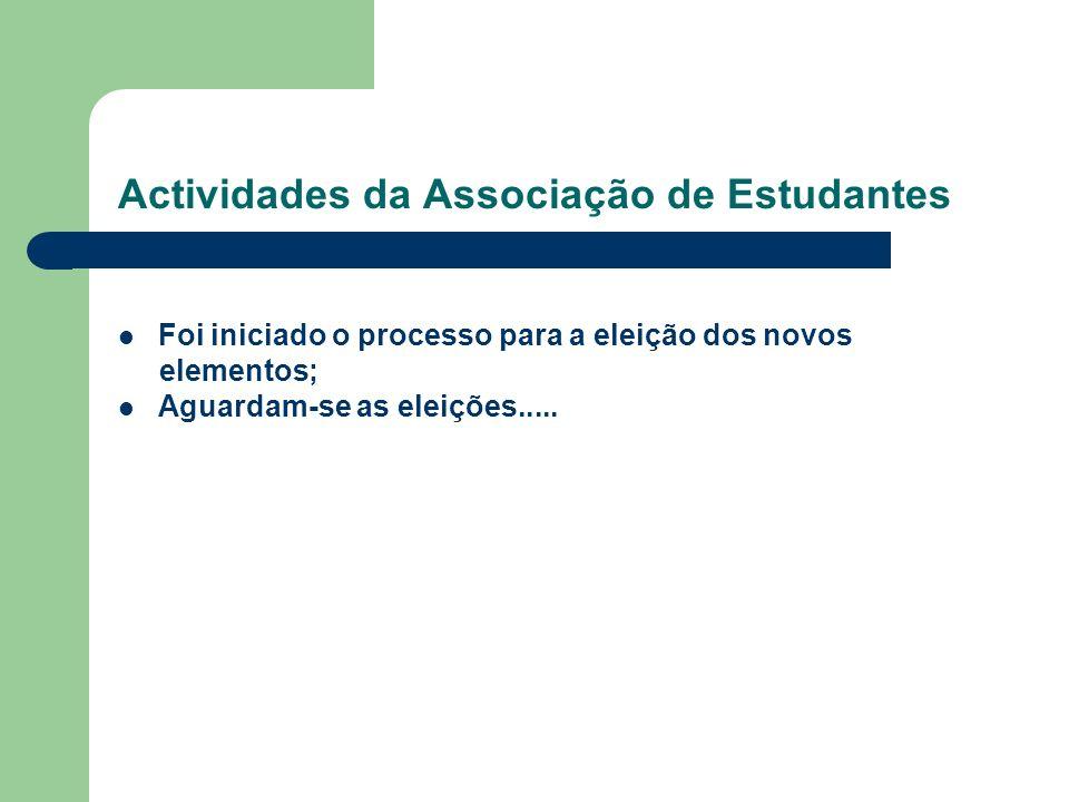 Actividades da Associação de Estudantes Foi iniciado o processo para a eleição dos novos elementos; Aguardam-se as eleições.....