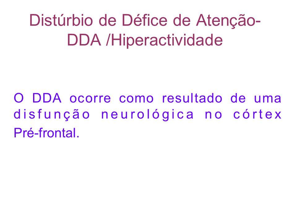 Distúrbio de Défice de Atenção- DDA /Hiperactividade O DDA ocorre como resultado de uma disfunção neurológica no córtex Pré-frontal.