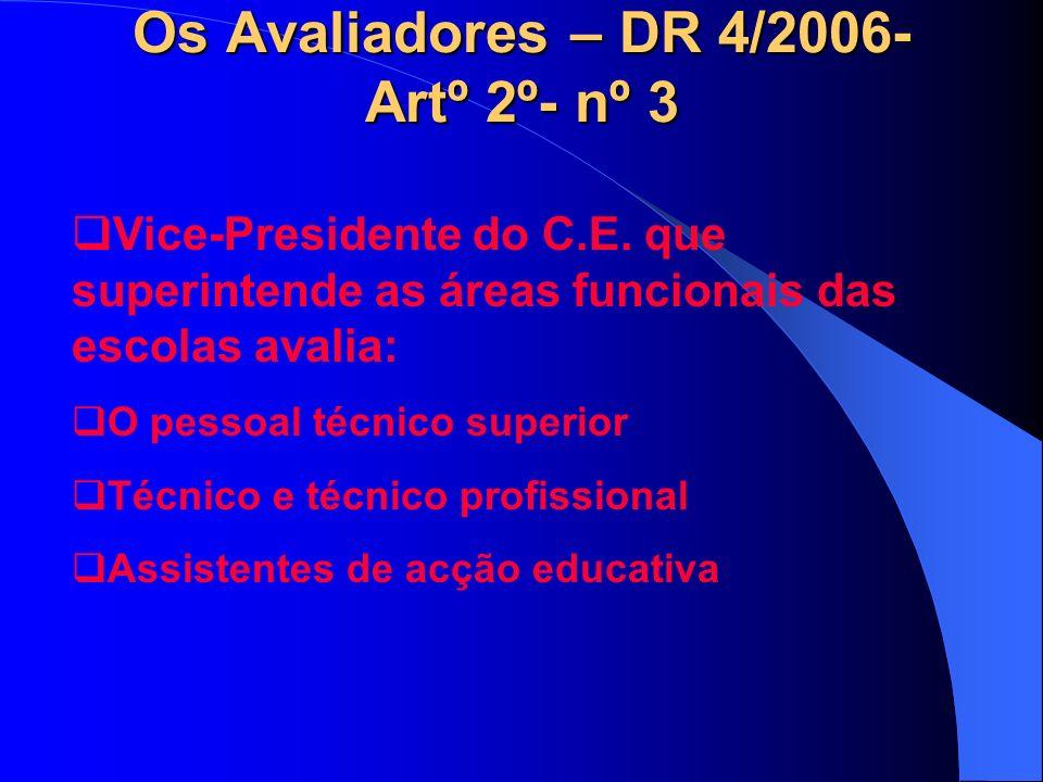 Os Avaliadores – DR 4/2006- Artº 2º- nº 3 Vice-Presidente do C.E.