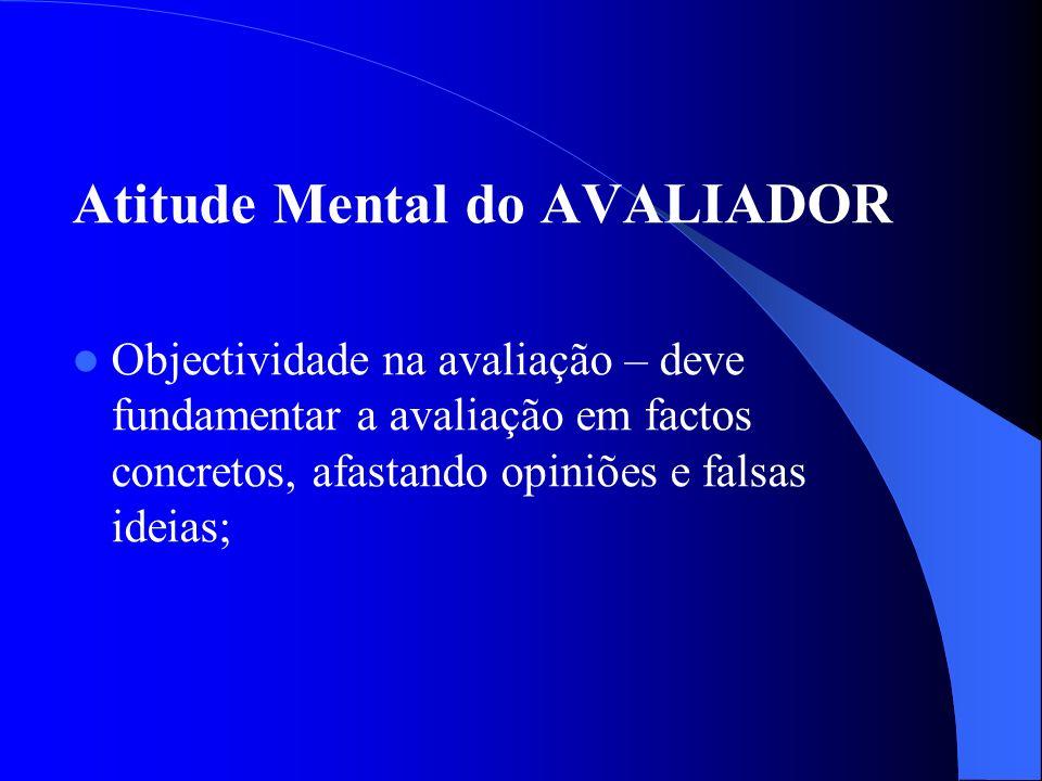 Atitude Mental do AVALIADOR Objectividade na avaliação – deve fundamentar a avaliação em factos concretos, afastando opiniões e falsas ideias;