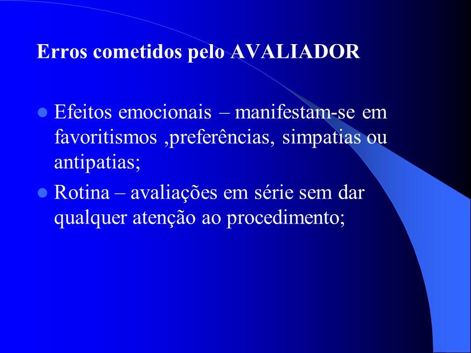 Erros cometidos pelo AVALIADOR Efeitos emocionais – manifestam-se em favoritismos,preferências, simpatias ou antipatias; Rotina – avaliações em série sem dar qualquer atenção ao procedimento;
