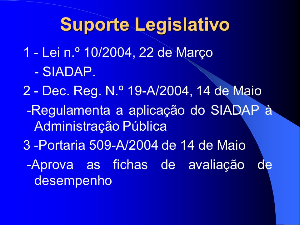 Suporte Legislativo 1 - Lei n.º 10/2004, 22 de Março - SIADAP.