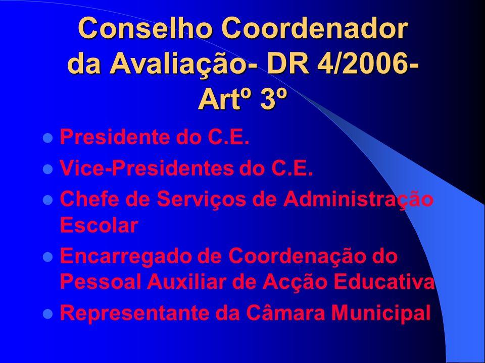 Conselho Coordenador da Avaliação- DR 4/2006- Artº 3º Presidente do C.E.