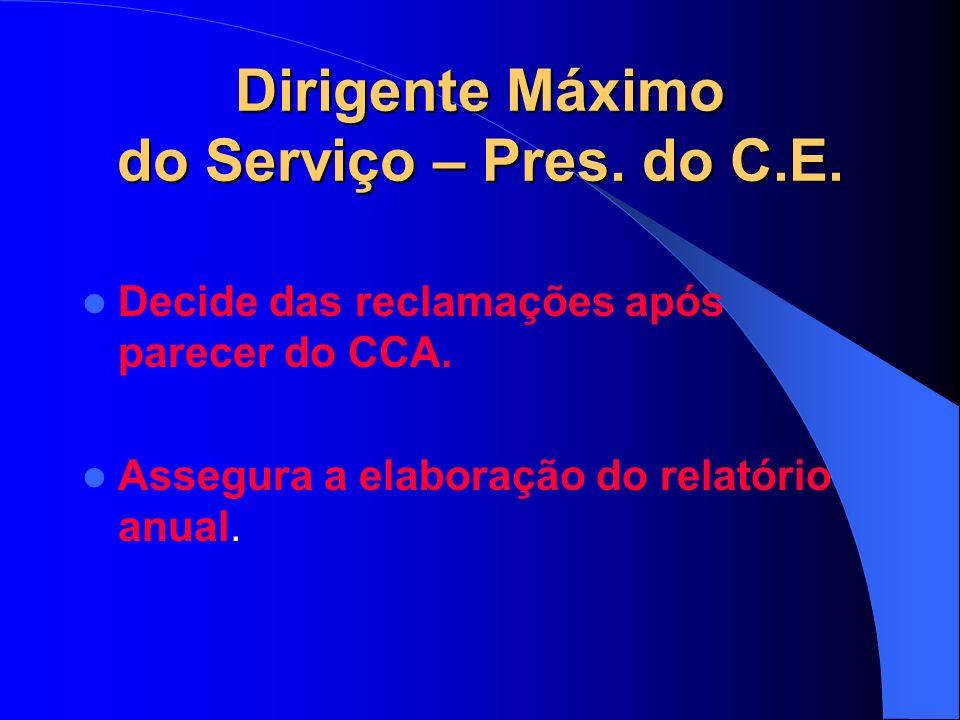 Dirigente Máximo do Serviço – Pres. do C.E. Decide das reclamações após parecer do CCA.