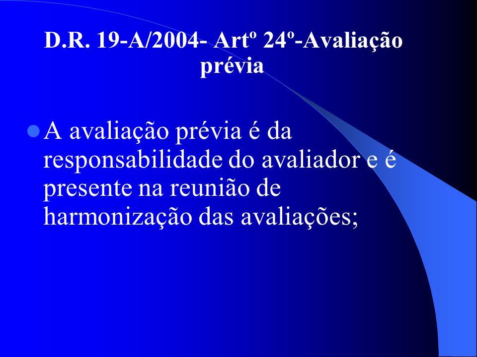D.R. 19-A/2004- Artº 24º-Avaliação prévia A avaliação prévia é da responsabilidade do avaliador e é presente na reunião de harmonização das avaliações