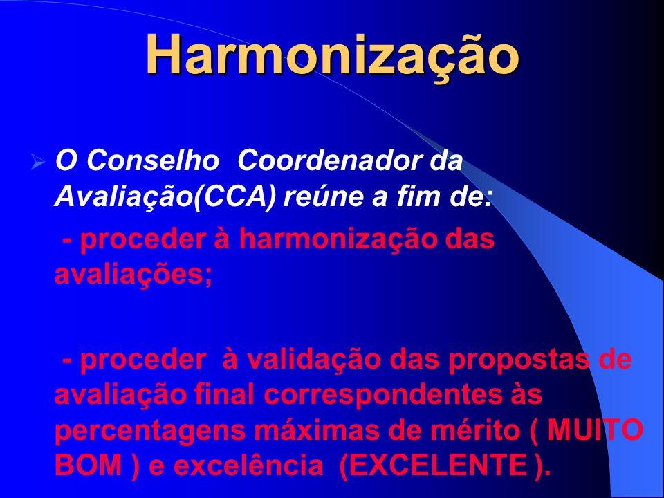 Harmonização O Conselho Coordenador da Avaliação(CCA) reúne a fim de: - proceder à harmonização das avaliações; - proceder à validação das propostas de avaliação final correspondentes às percentagens máximas de mérito ( MUITO BOM ) e excelência (EXCELENTE ).