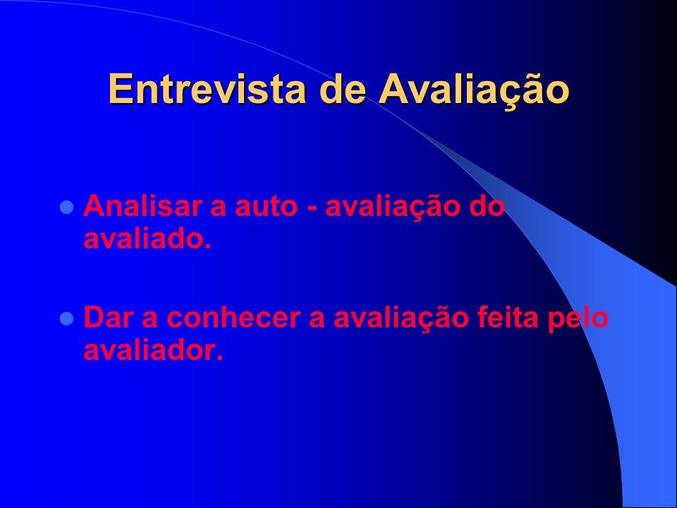 Entrevista de Avaliação Analisar a auto - avaliação do avaliado.
