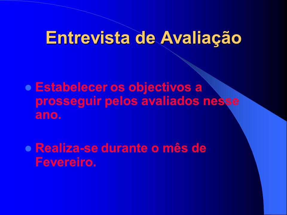 Entrevista de Avaliação Estabelecer os objectivos a prosseguir pelos avaliados nesse ano.