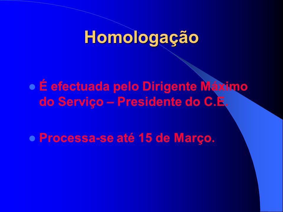 Homologação É efectuada pelo Dirigente Máximo do Serviço – Presidente do C.E.