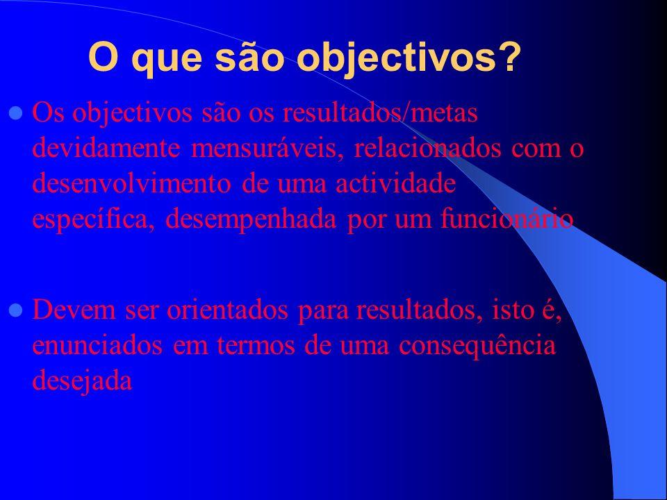 O que são objectivos.