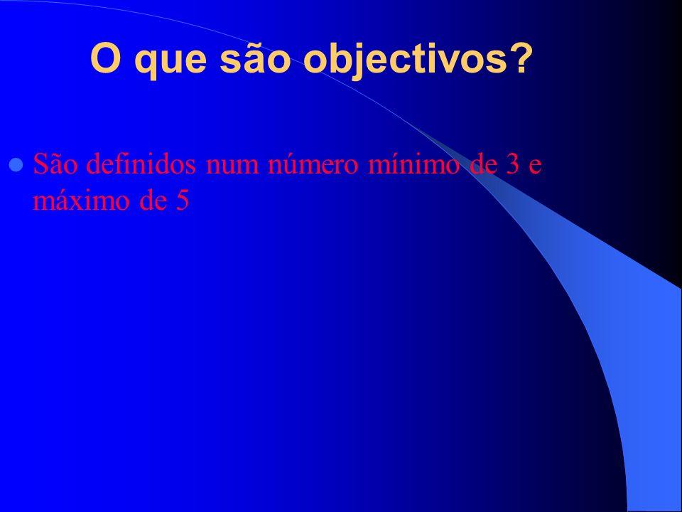 O que são objectivos São definidos num número mínimo de 3 e máximo de 5