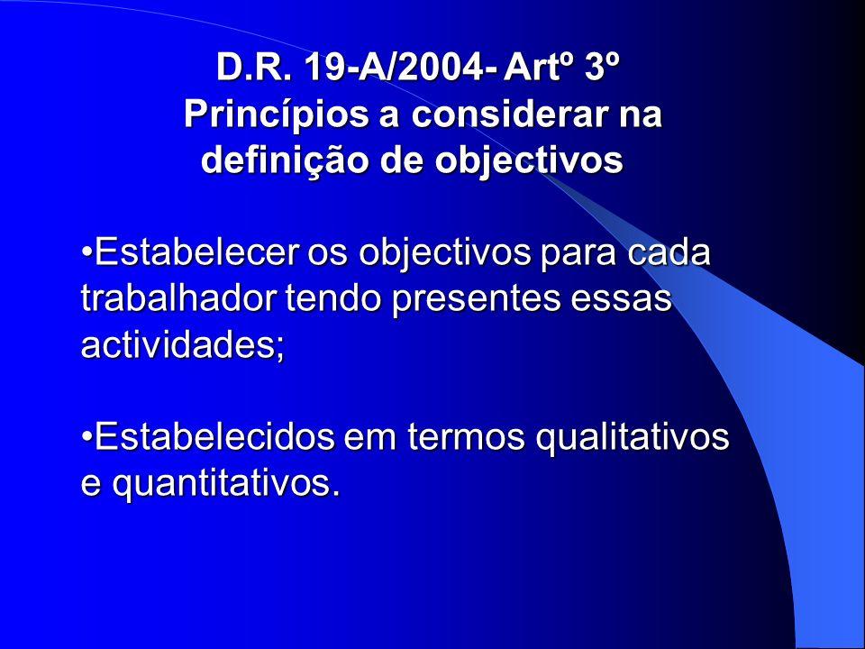 D.R. 19-A/2004- Artº 3º Princípios a considerar na definição de objectivos Princípios a considerar na definição de objectivos Estabelecer os objectivo