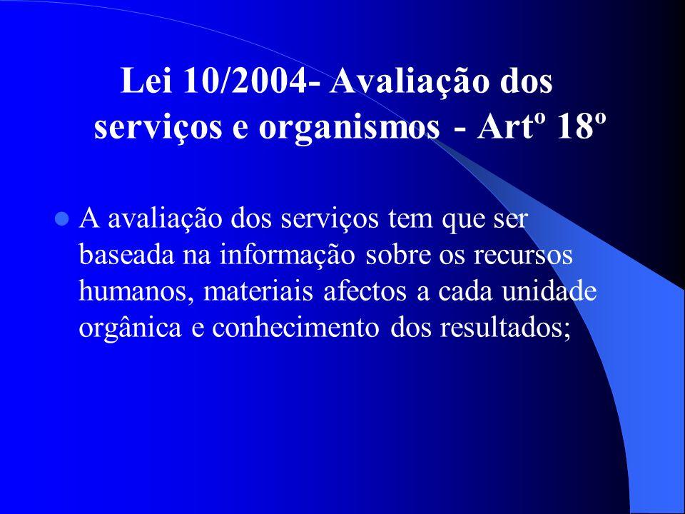 Lei 10/2004- Avaliação dos serviços e organismos - Artº 18º A avaliação dos serviços tem que ser baseada na informação sobre os recursos humanos, materiais afectos a cada unidade orgânica e conhecimento dos resultados;