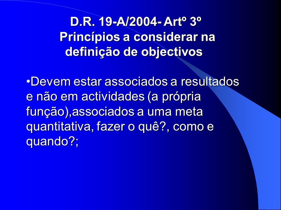 D.R. 19-A/2004- Artº 3º Princípios a considerar na definição de objectivos Princípios a considerar na definição de objectivos Devem estar associados a