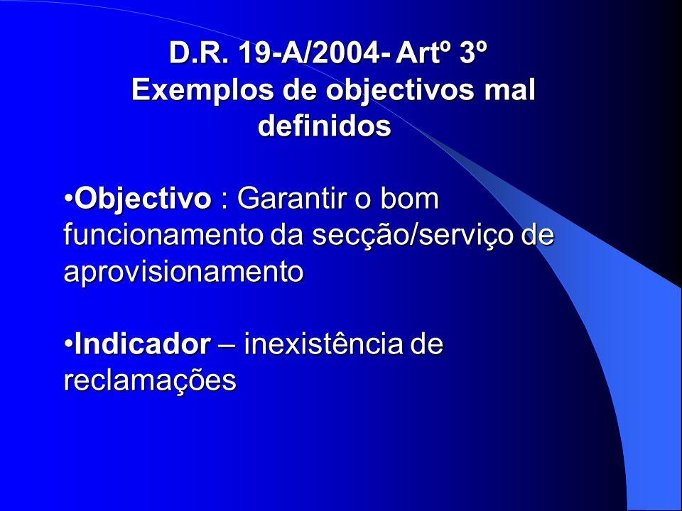 D.R. 19-A/2004- Artº 3º Exemplos de objectivos mal definidos Exemplos de objectivos mal definidos Objectivo : Garantir o bom funcionamento da secção/s